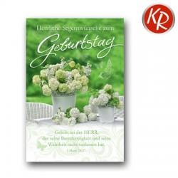 Faltkarte zum Geburtstag - Weiße Blütenpracht