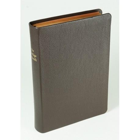 Schreibrandbibel, größere Ausgabe, Ziegenleder braun, rotgold