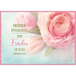 Postkarte - Frieden hinterlasse ich euch/rosa Rose