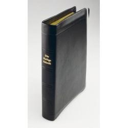 Taschenbibel, größere Ausgabe, Leder, Goldschnitt, Schutzklappen, leichte Mängel