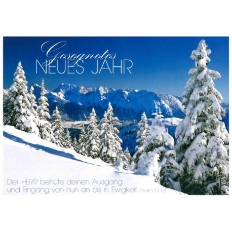 Postkarte zum Neuen Jahr - verschneite Tannen