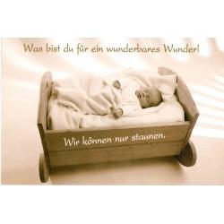 Faltkarte zur Geburt - Baby in Wiege