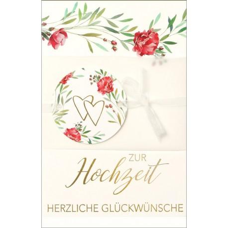 Faltkarte zur Hochzeit - Pergament mit Schleife
