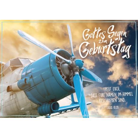 Postkarte zum Geburtstag - Flugzeug Klassiker
