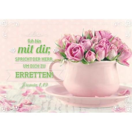 Postkarte - Rosen in der Tasse