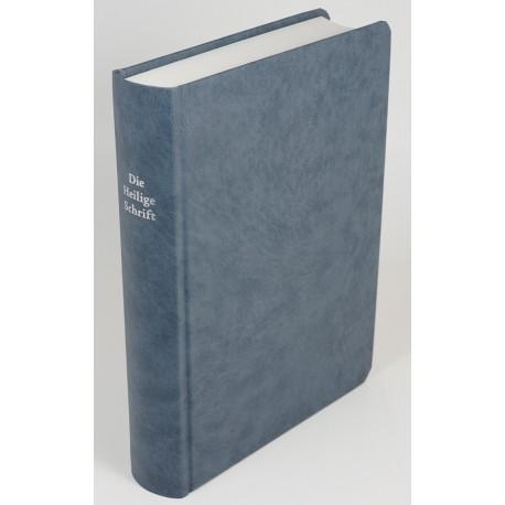 Schreibrandbibel, kleinere Ausgabe, Hartcover, graublau