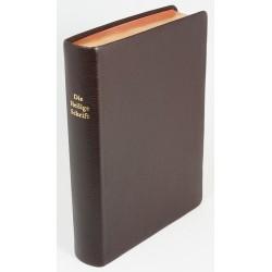 Schreibrandbibel, kleinere Ausgabe, Ziegenleder braun, Rotgoldschnitt