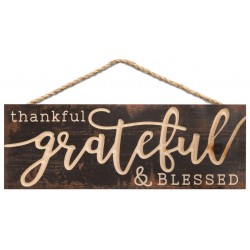 Holzschild: Thankful Grateful and blessed
