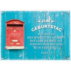 Postkarte zum Geburtstag - Briefkasten