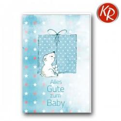 Faltkarte zur Geburt - Bär mit Paket