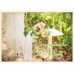 Faltkarte zur Hochzeit - Brautstrauß auf Schaukel