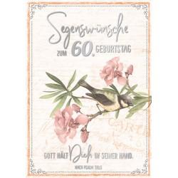 Faltkarte zum 60. Geburtstag - Vogel auf Zweig
