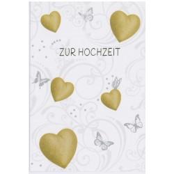 Faltkarte zur Hochzeit - Herzen und Schmetterlinge