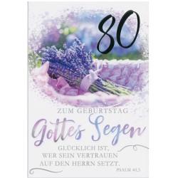 Faltkarte zum 80. Geburtstag - Lavendelstrauß