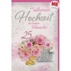 Faltkarte zur Silberhochzeit - Rosen und Ringe