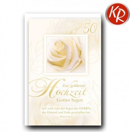 Faltkarte zur Goldhochzeit - Creme-Rose