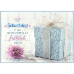 Postkarte zum Geburtstag - Geschenk hellblau