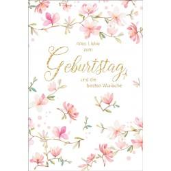 Faltkarte zum Geburtstag - Rosa Blüte