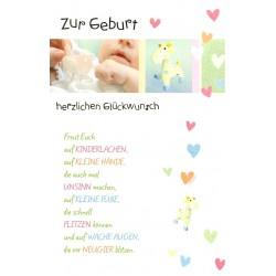 Faltkarte zur Geburt - Kinderlachen