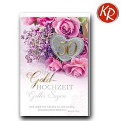 Faltkarte zur Goldhochzeit - Rosen und Flieder
