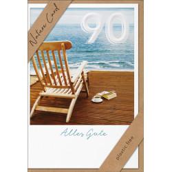 Faltkarte zum 90. Geburtstag - Liegestuhl