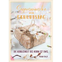 Faltkarte zum Geburtstag - Päckchen mit Kirschblüten