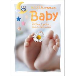 Faltkarte zur Geburt - Füsse Gänseblümchen