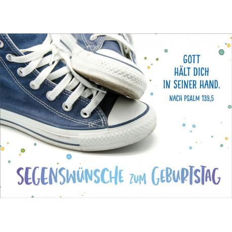 Postkarte zum Geburtstag - Blaue Sneakers