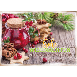 Postkarte zu Weihnachten/Neu Jahr - Einmachglas