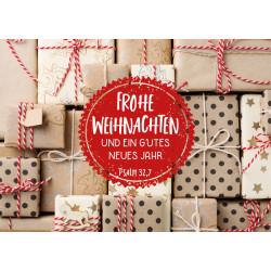 Postkarte zu Weihnachten/Neu Jahr - Viele Weihnachtspäckchen