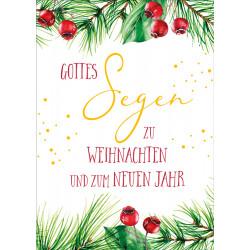 Postkarte zu Weihnachten/Neu Jahr - Rote Beeren