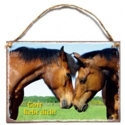Holzschild: Gott liebt dich / Pferde