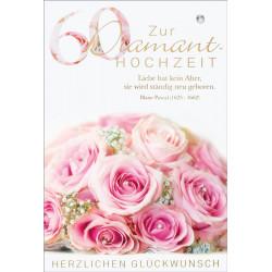 Faltkarte zur Diamant-Hochzeit - Rosenstrauß