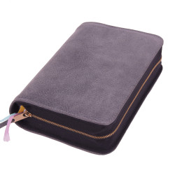 Bibelhülle, Premiumleder, grau für Hausbibel