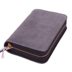 Bibelhülle, Premiumleder, grau für Schreibrandbibel/klein