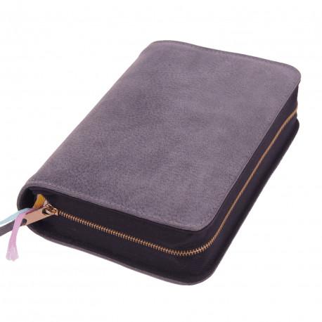 Bibelhülle, Premiumleder, grau für Taschenbibel