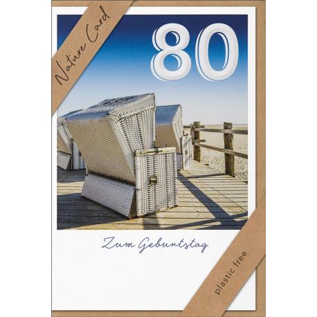 Faltkarte zum 80. Geburtstag - Strandkörbe