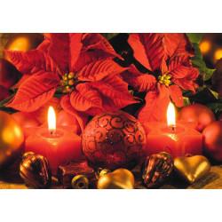Faltkarte Gesegnete Feiertage - Weihnachtsstern und Kerzen