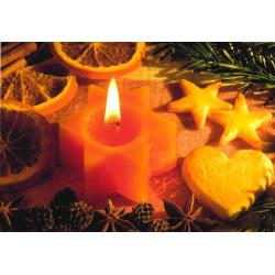 Faltkarte Gesegnete Feiertage - Kerze und Plätzchen