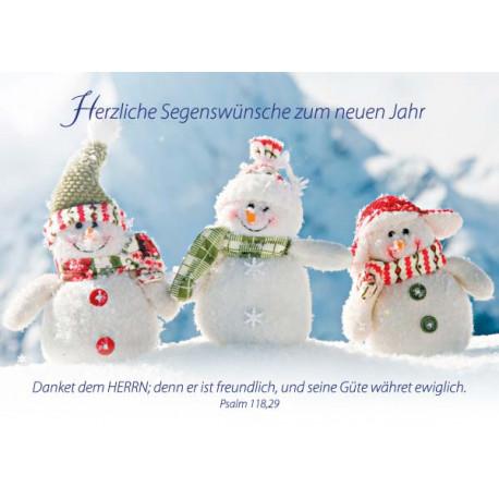 Postkarte zum Neuen Jahr - 3 Schneemänner