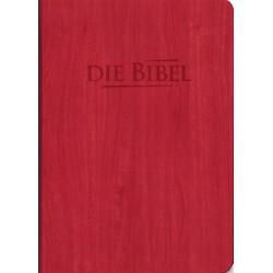Taschenbibel, größere Ausgabe, rot, Holzoptik