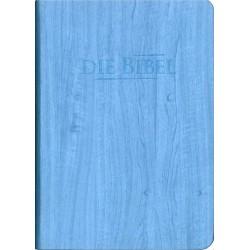 Taschenbibel, größere Ausgabe, blau, Holzoptik