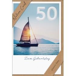 Faltkarte zum 50. Geburtstag - Segelschiff