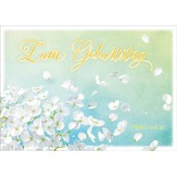 Postkarte zum Geburtstag - Weiße Blüten