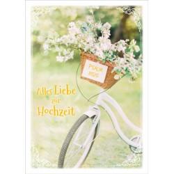 Faltkarte zur Hochzeit - Fahrradkorb