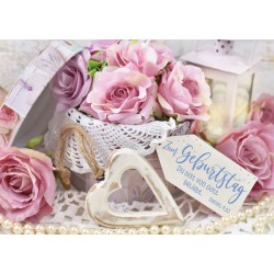 Faltkarte zum Geburtstag - Rosen in Schatulle