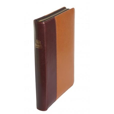 Taschenbibel, größere Ausgabe, softweiches Kunstleder, braun, Re