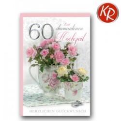 Faltkarte zur diamantenen Hochzeit - Rosentassen