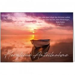 Faltkarte zu Trauer - Boot am See