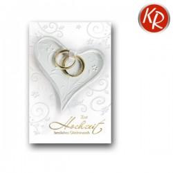 Faltkarte Hochzeit - Herz und Ringe